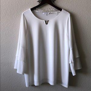 Calvin Klein White Bell Sleeve Blouse - 1X